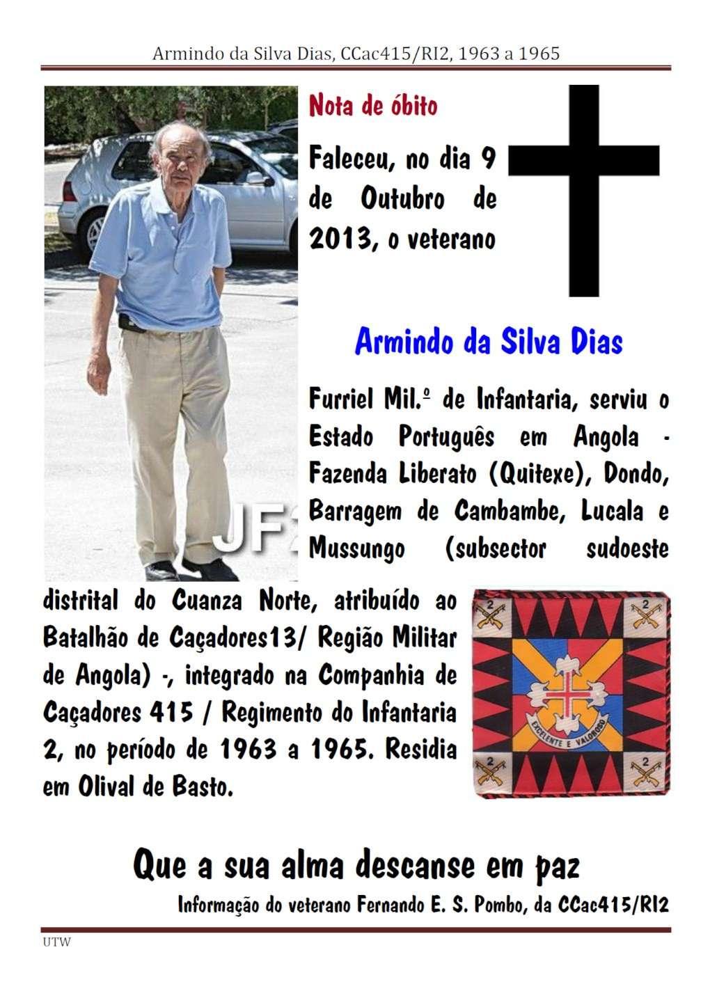 Faleceu o veterano Armindo da Silva Dias - CCac415/RI2 - 09Out2013 Armind13