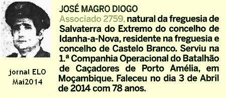 Notas de óbito - 8 veteranos da guerra do Ultramar, publicadas no jornal ELO, de Maio 2014, da ADFA Bcac1410