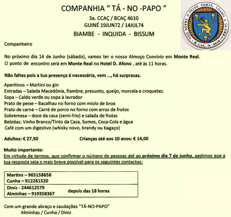 14Jun2014: Encontro Convívio da 3.ª Companhia do Batalhão de Caçadores 4610 Bcac4611