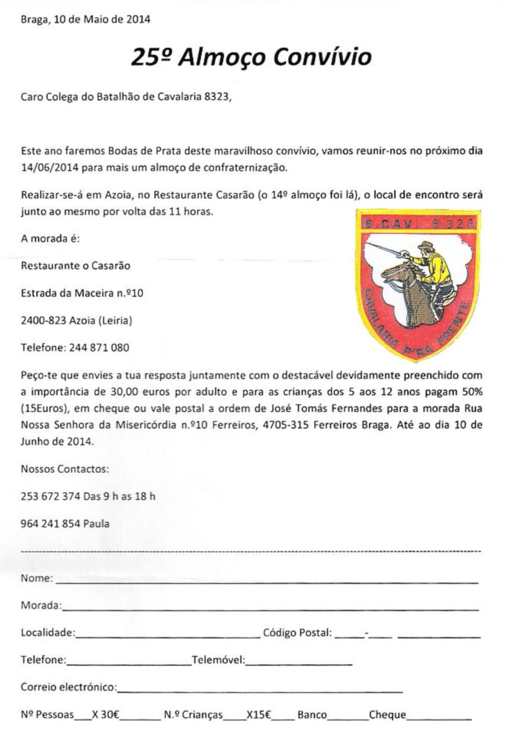14Jun2014: 25.º Encontro Convívio do Batalhão de Cavalaria 8323 Bcav8310