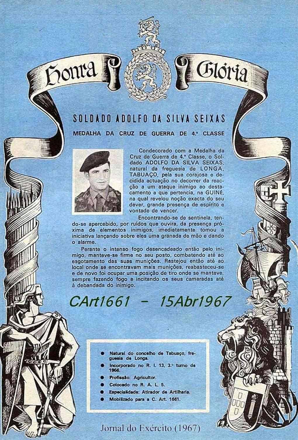 Adolfo da Silva Seixas, CArt1661/CTIG: Cruz de Guerra de 4.ª classe Cart1611