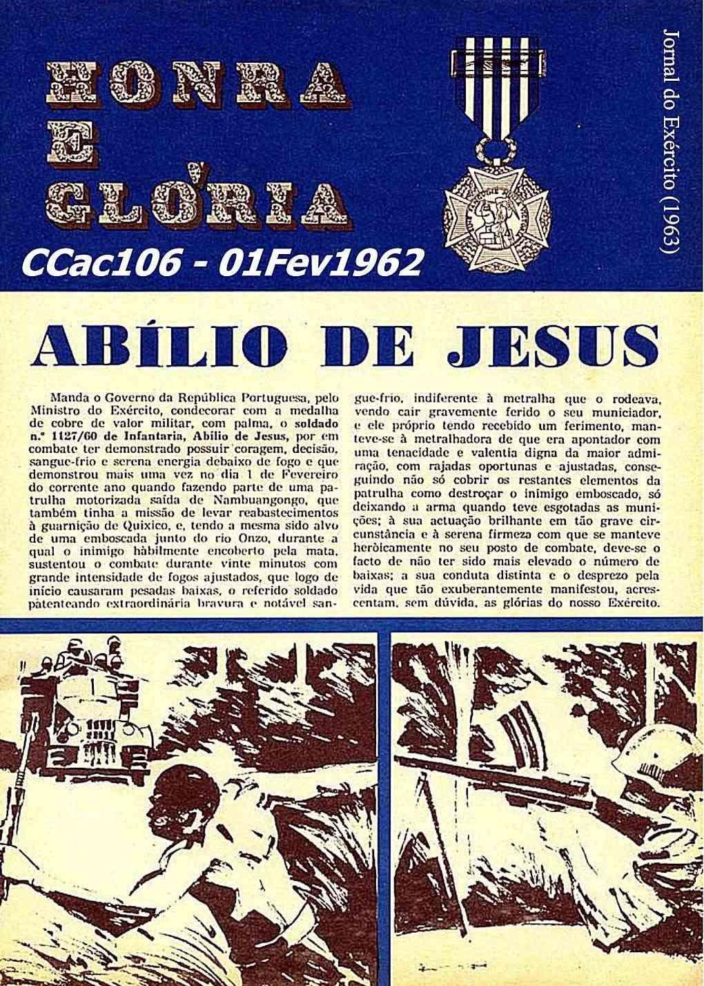 Abílio de Jesus, CCac103/BCac96/RMA: Medalha de Cobre de Valor Militar, com palma  Ccac1011