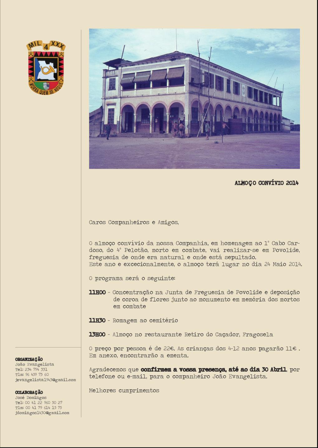 """24Mai2014 - O programa - Almoço Convívio da Companhia de Caçadores 1430 «Morra Quem Se Negue"""" Ccac1411"""