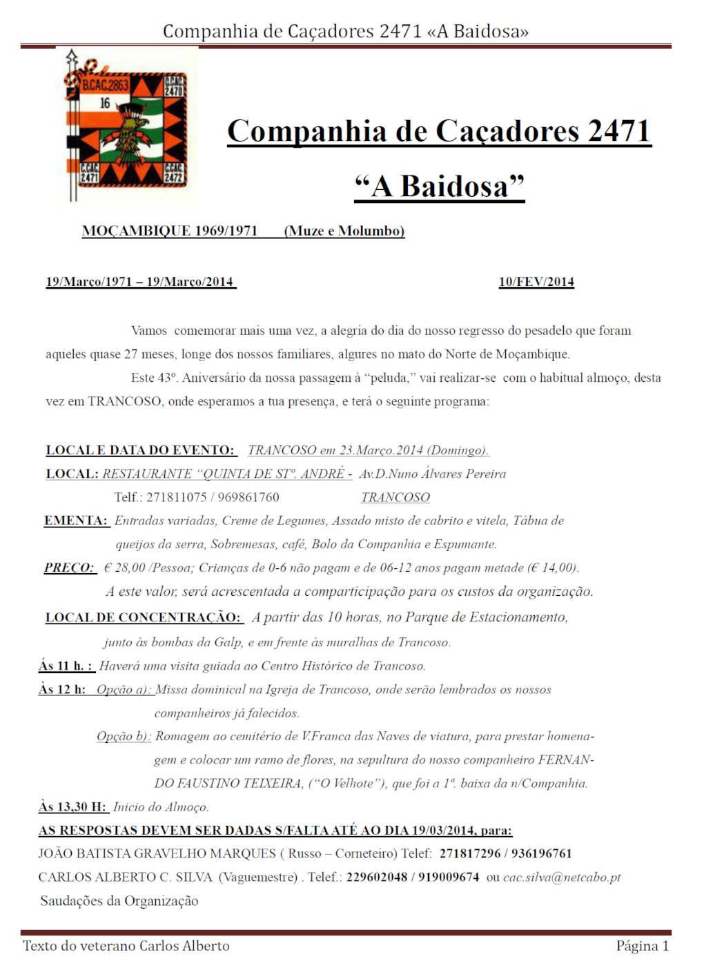 23Mar2014: Almoço Convívio da Companhia de Caçadores 2471 «A Baidosa» Compan10