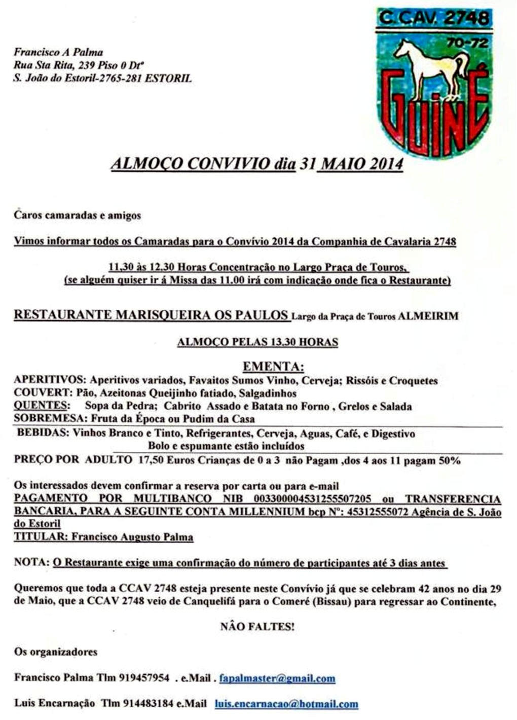 Almoço Convívio da Companhia de Cavalaria 2748 - Almeirim - 31Mai2014 Compan14