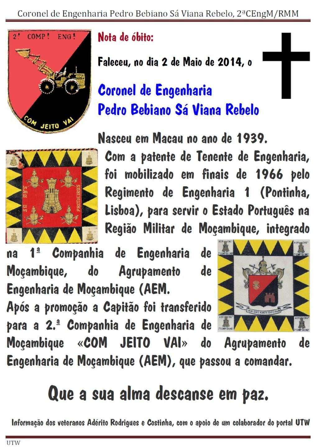 Faleceu o Coronel de Engenharia Pedro Bebiano Sá Viana Rebelo - 2ªCEngM/RMM - 02Mai2014 Coreng12
