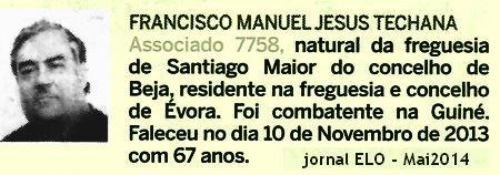 Notas de óbito - 8 veteranos da guerra do Ultramar, publicadas no jornal ELO, de Maio 2014, da ADFA Ctig-o10