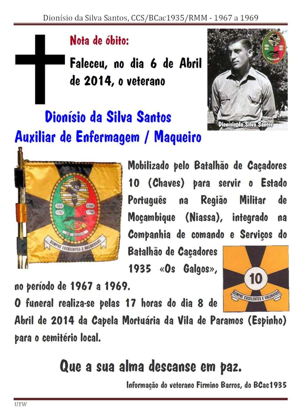 Faleceu o veterano Dionísio da Silva Santos - CCS/BCac1935/RMM - 06Abr2014  Dionis11