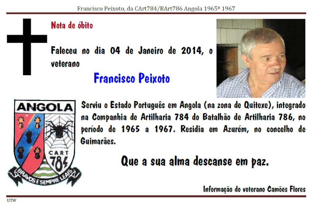 Faleceu o veterano Francisco Peixoto no dia 04Jan2014 Franci10