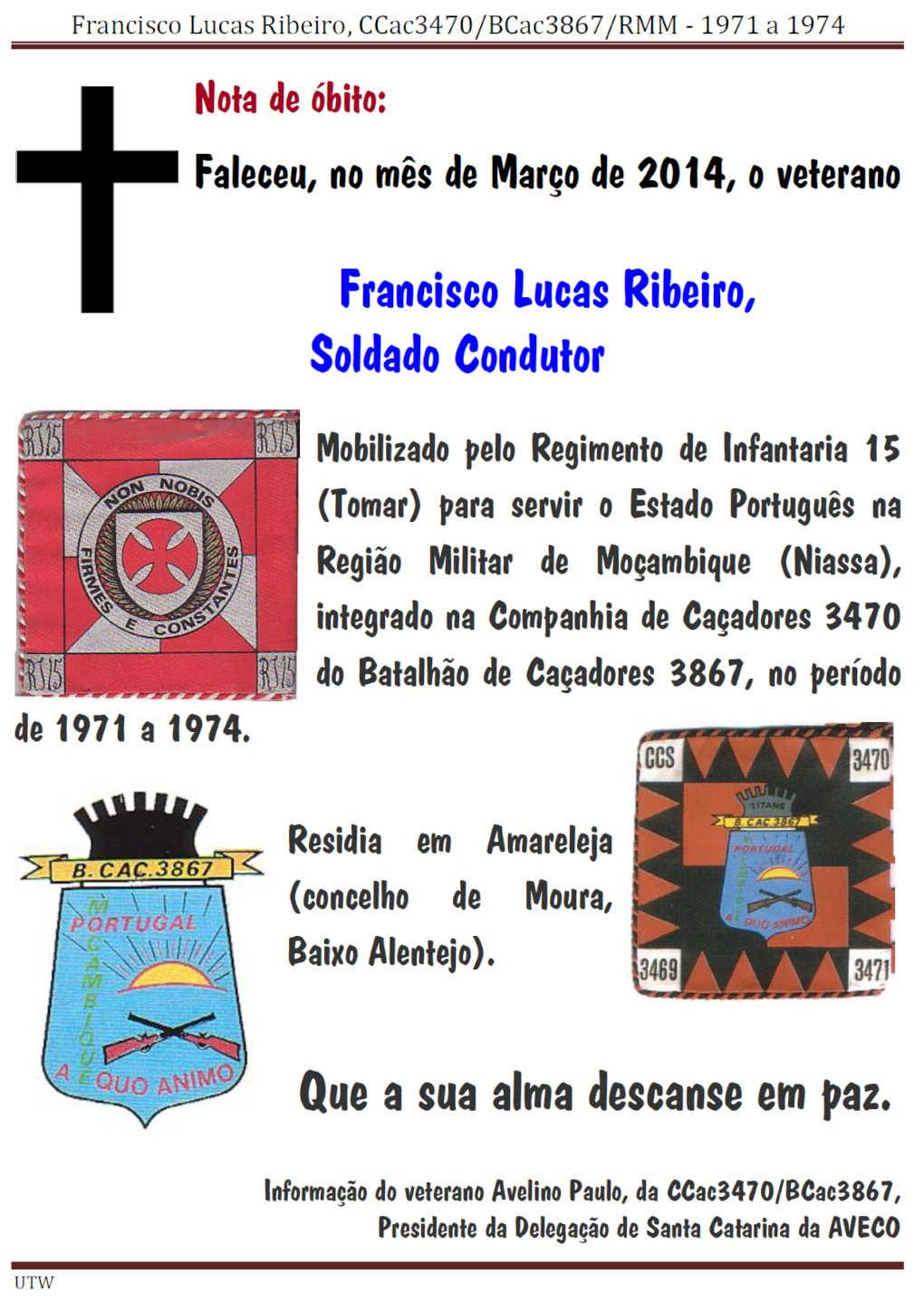 Faleceu o veterano Francisco Lucas Ribeiro, da CCac3470/BCac3867 Moçambique - Mar2014 Franci11