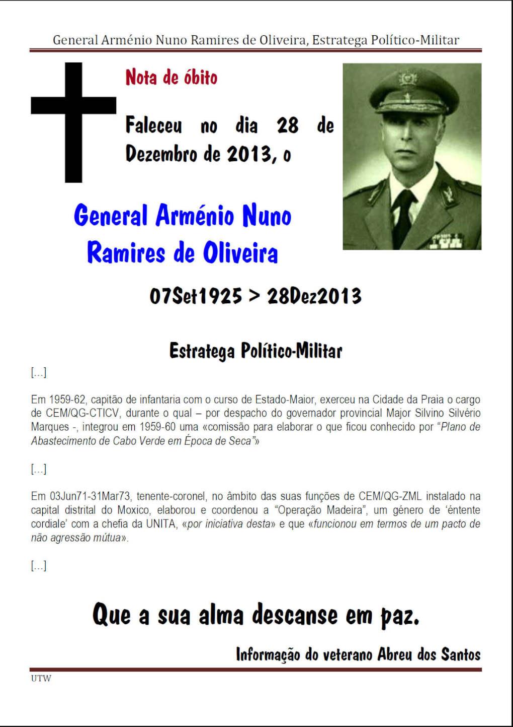 Faleceu o General Arménio Nuno Ramires de Oliveira - dia 28Dez2013 Gename10