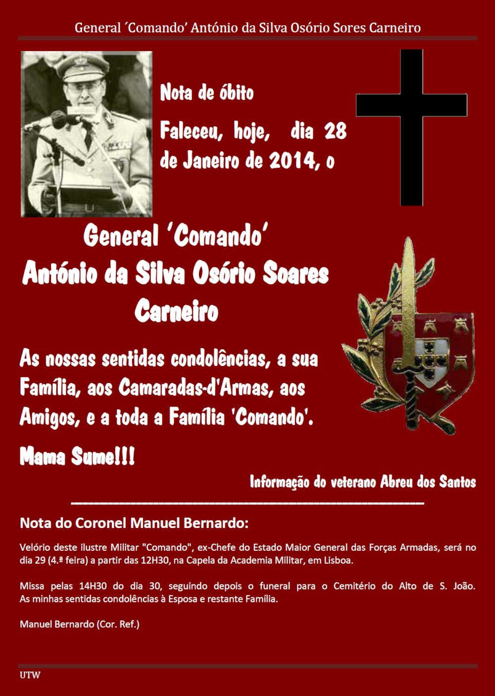 Faleceu o General 'Comando' António da Silva Osório Soares Carneiro - 28Jan2014 Geneal11