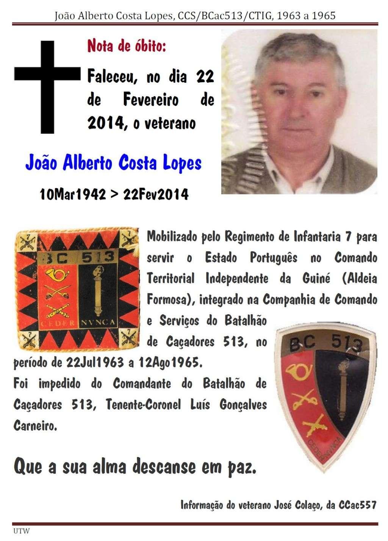 Faleceu o veterano João Alberto Costa Lopes, da CCS/BCac513/CTIG - 22Fev2014 Joaoal10