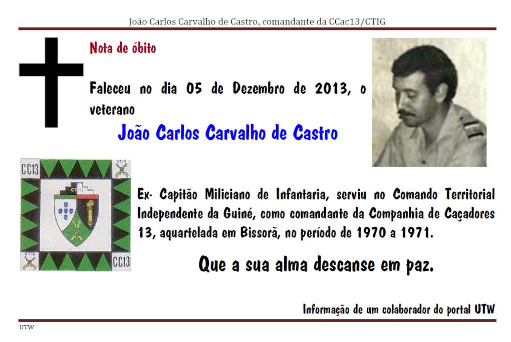 Faleceu o veterano João Carlos Carvalho de Castro, no dia 05Dez2013 Joaoca10