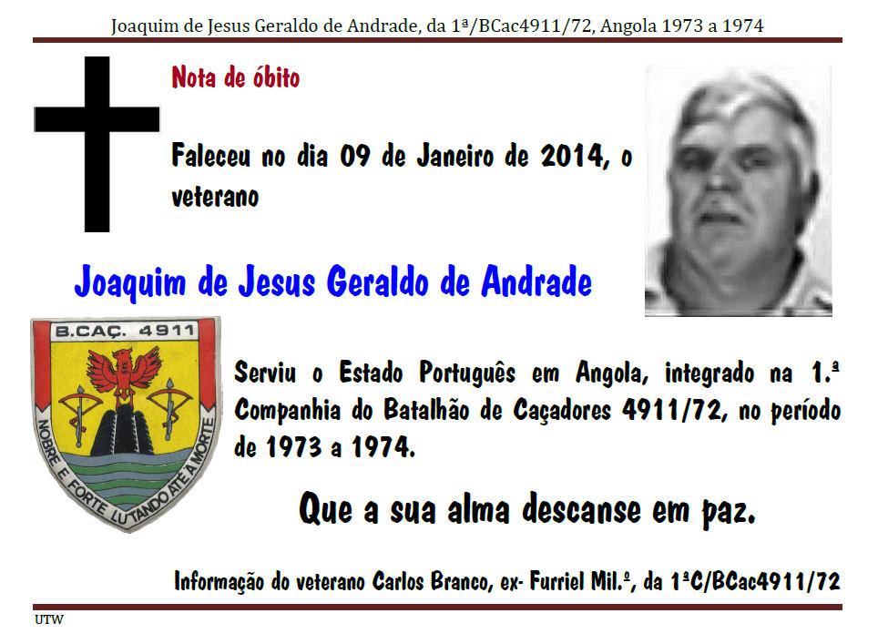 Faleceu o veterano Joaquim de Jesus Geraldo de Andrade da 1ªC/BCac4911/72 - 09Jan2014 Joaqui10