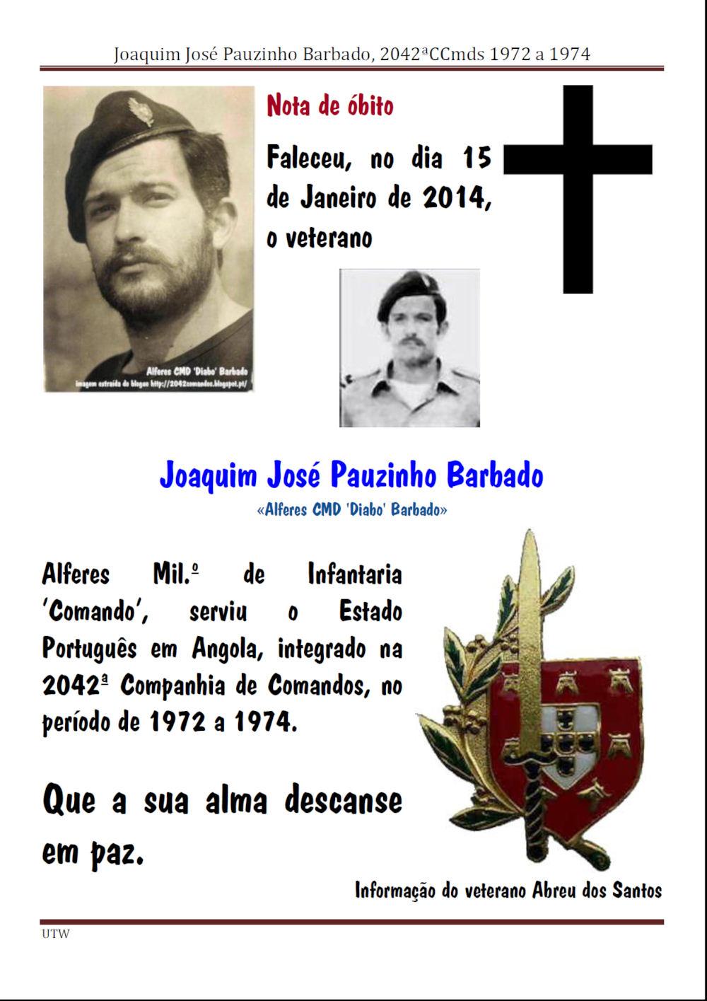 Faleceu o veterano Joaquim José Pauzinho Barbado - 2042ªCCmds - 15Jan2014 Joaqui16