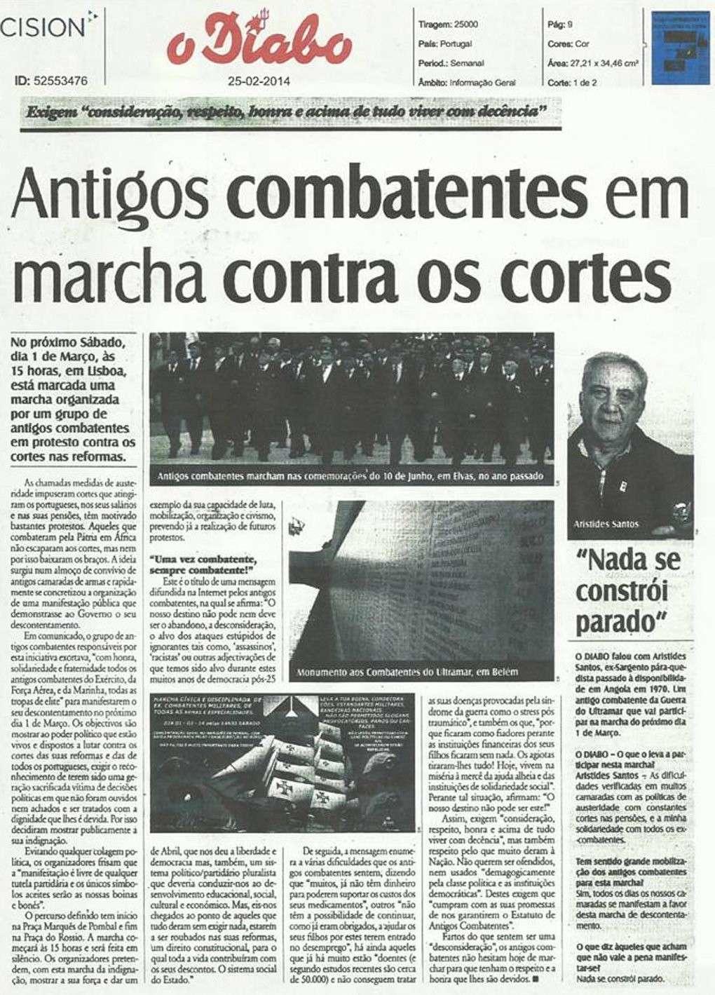 Antigos Combatentes em marcha contra os cortes - imagem de José Silva Marcelino Martins Jorana10