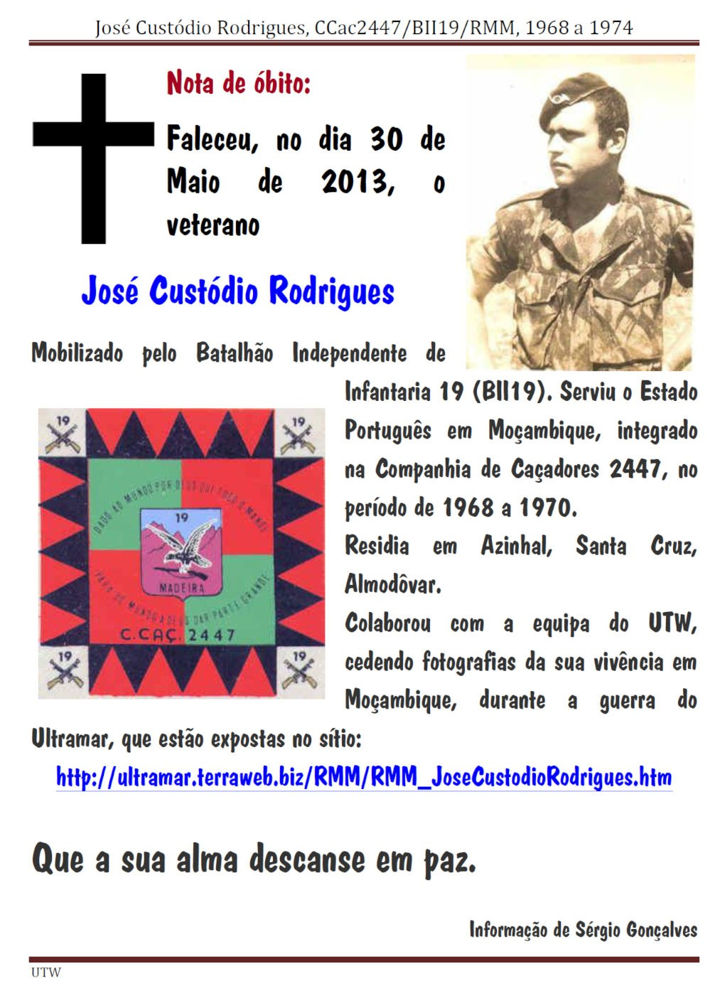 Faleceu o veterano José Custódio Rodrigues - CCac2447/BII19/RMM - 30Mai2013 Josacu10