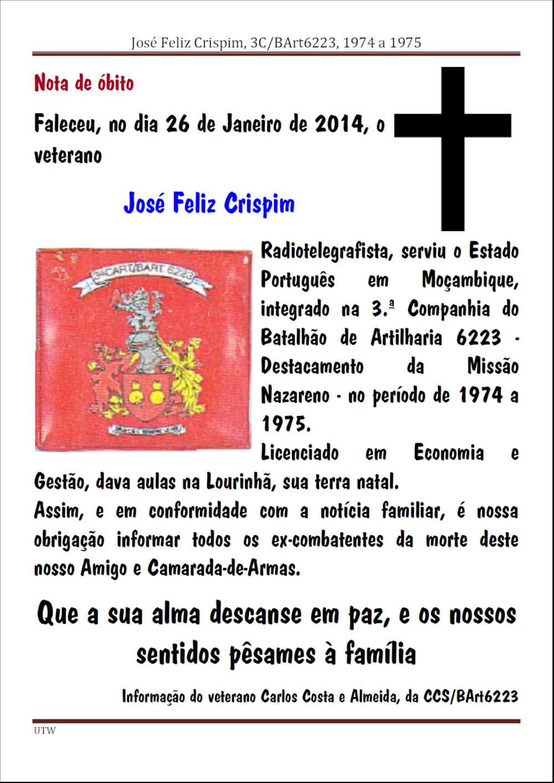 Faleceu o veterano José Feliz Crispim, da 3ª/BArt6223 - 26Jan2016 Josefe11