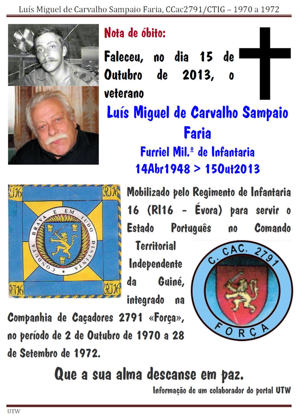 Faleceu o veterano Luís Miguel de Carvalho Sampaio Faria, CCac2791/CTIG - 15Out2013 Luismi10