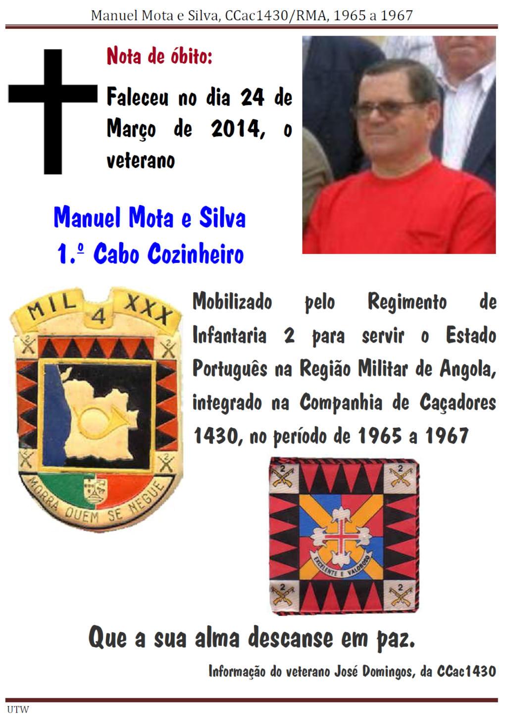 Faleceu o veterano Manuel Mota e Silva, da CCac1430 -24Mar2014 Manuel12