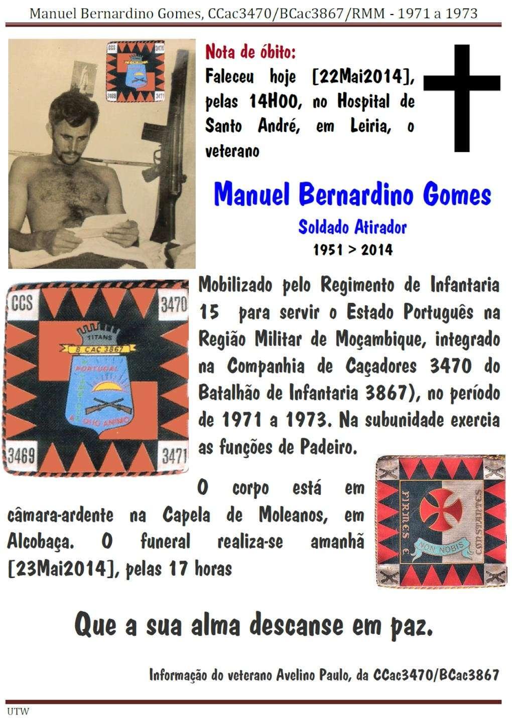 Faleceu o veterano Manuel Bernardino Gomes, da CCac3470/BCac3867/RMM - 22Mai2014 Manuel16