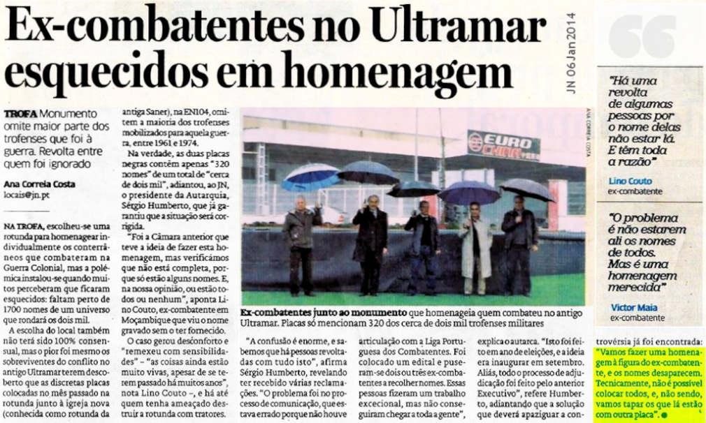 Trofa: Ex-combatentes no Ultramar esquecidos em homenagem - Jornal de Notícias de 06Jan2014 Mec_2711