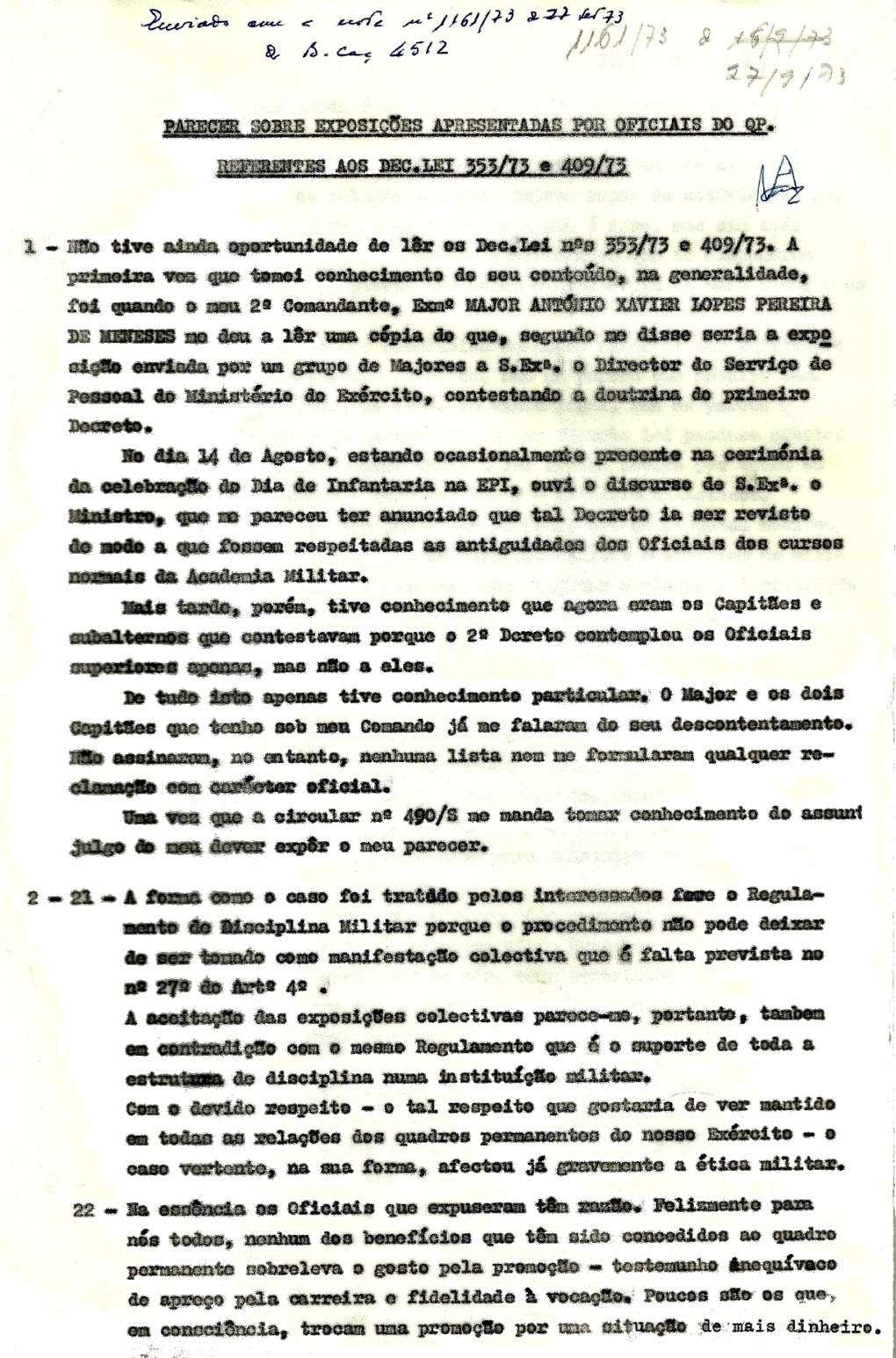 Cor António Vaz Antunes: Parecer sobre exposições apresentadas por Oficiais do QP (DL353 e 409/73)   Pagina10