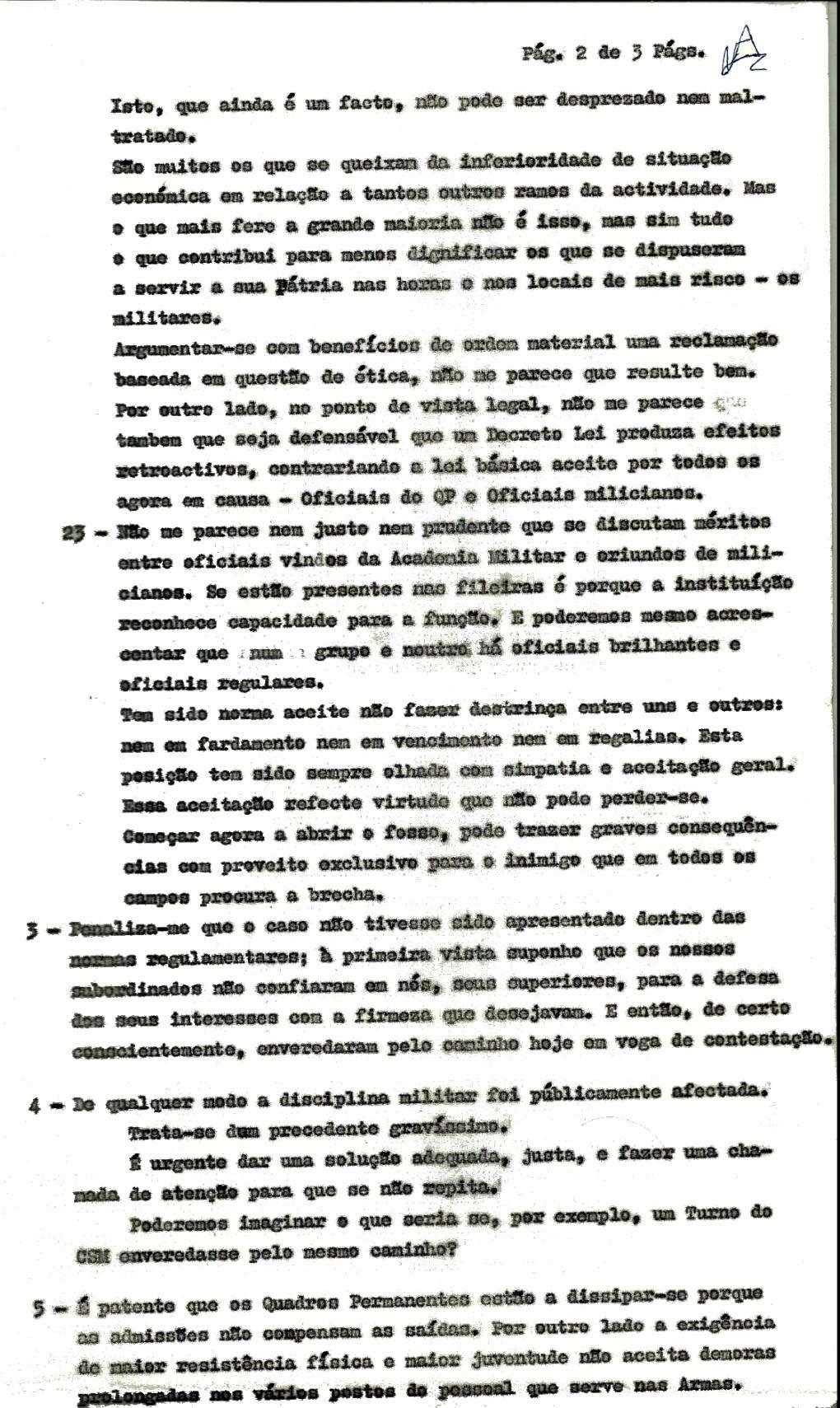 Cor António Vaz Antunes: Parecer sobre exposições apresentadas por Oficiais do QP (DL353 e 409/73)   Pagina11