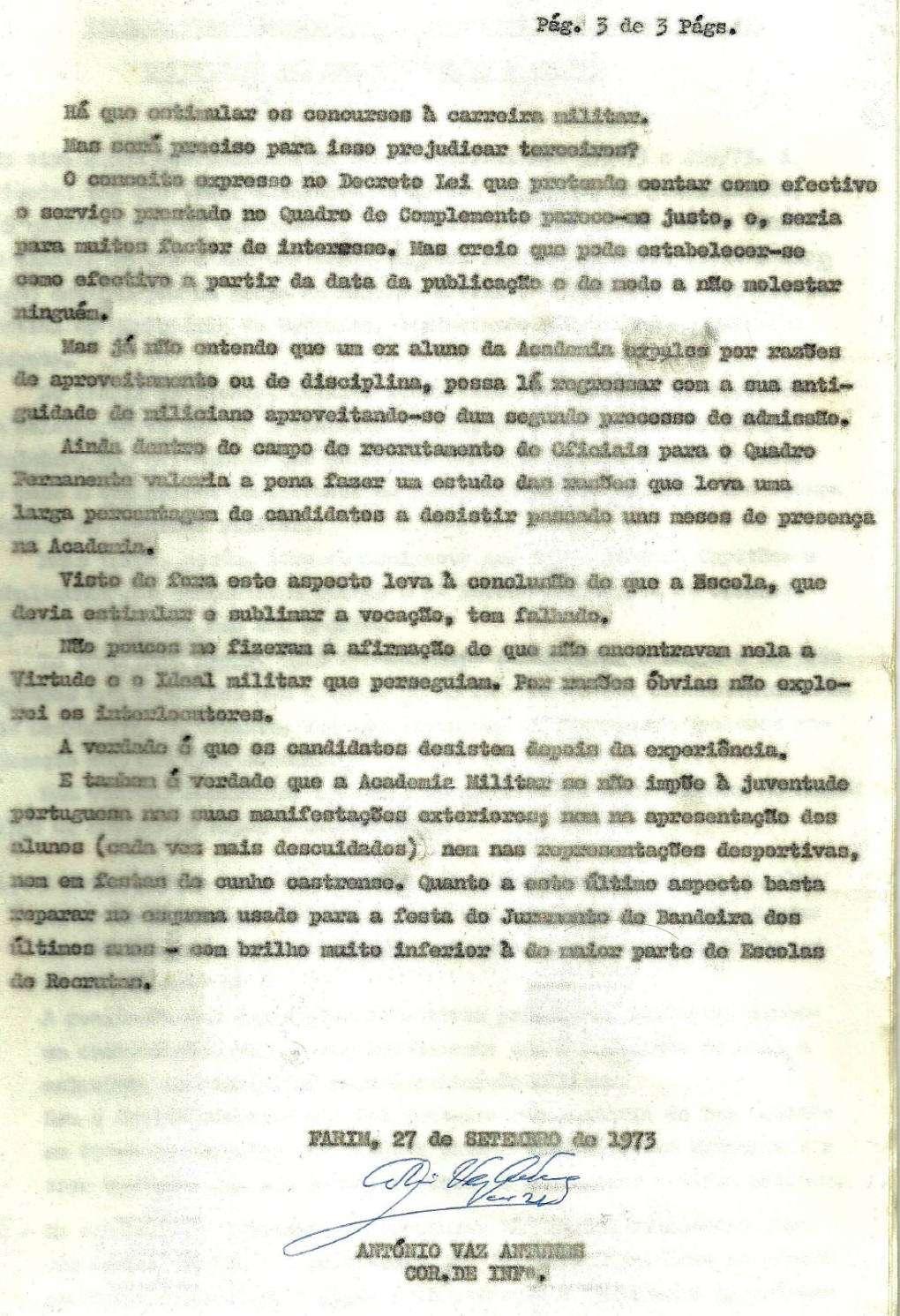 Cor António Vaz Antunes: Parecer sobre exposições apresentadas por Oficiais do QP (DL353 e 409/73)   Pagina12