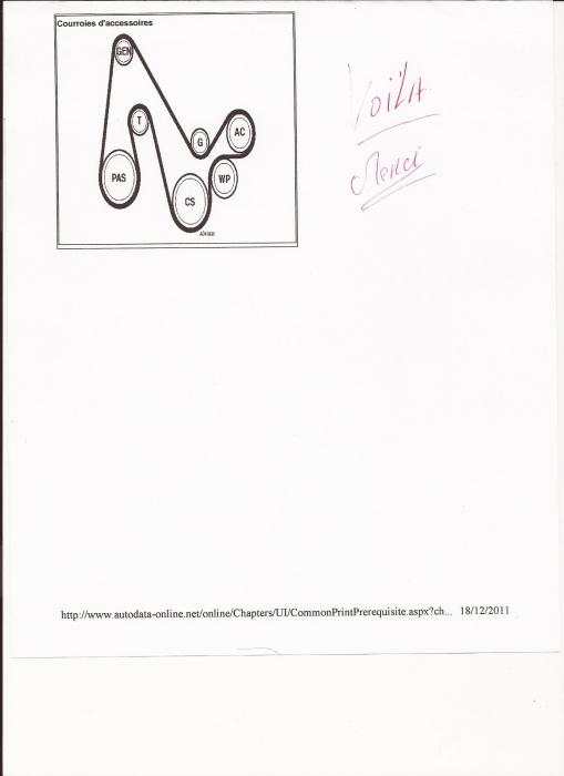 schéma remontage courroie accessoires 22167210