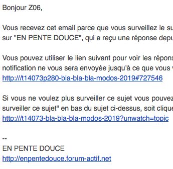 Mails : lien de notification incomplet ou erroné. Captu554