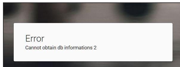 "SERVIMG ""erreur :cannot obtain db information 2 "" Captur43"
