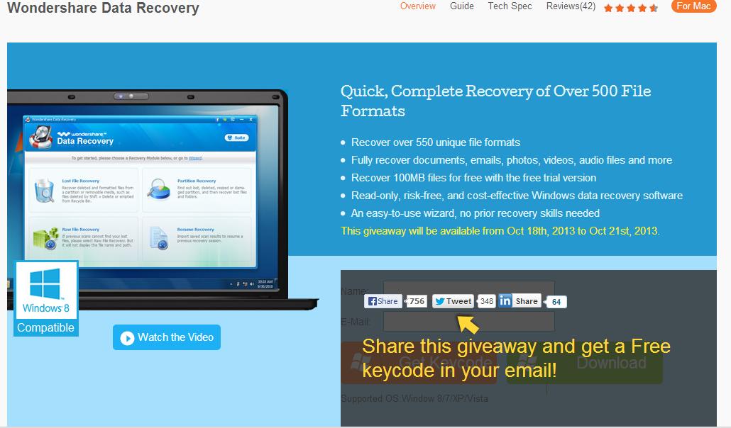 Giveaway Wondershare data recovery gratuit jusqu au 21 octobre Wonder11