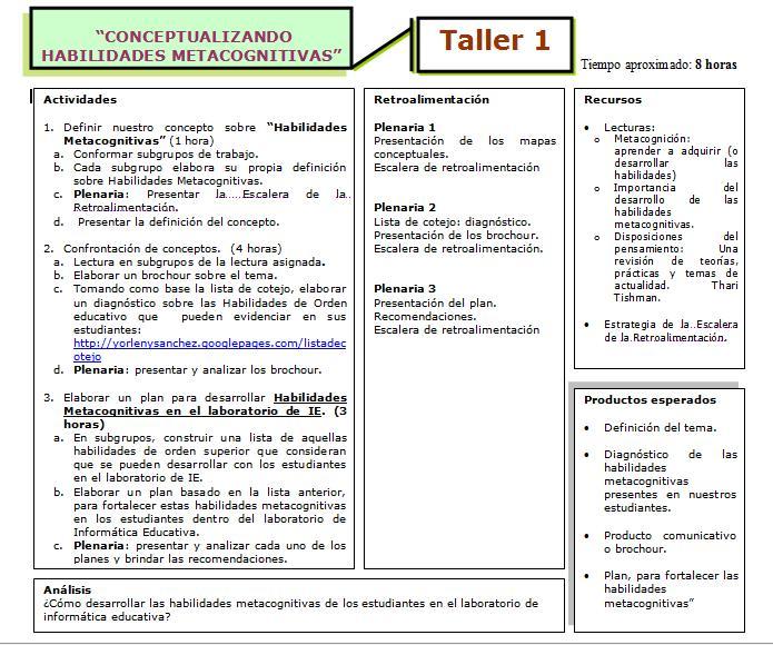 Nuestro Proyecto: I Taller (propuesta) Taller11