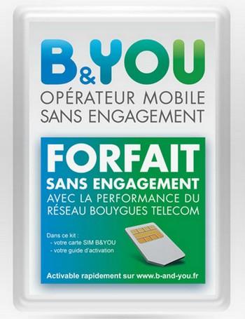 Des kits Sim B&You vendus dans les Clubs Bouygues Telecom 50801111