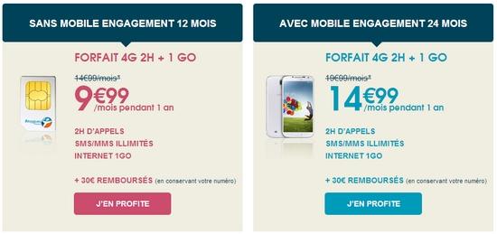 Vente Flash: –5 €  sur le forfait 4G 2h/1Go chez Bouygues Telecom Promo511
