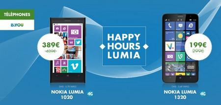 Happy Hours B&YOU : -100 € sur les Nokia Lumia 1020 et 1320 Reducn10