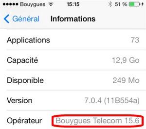 """""""Mise à jour des réglages opérateur"""" pour iPhone chez Bouygues Telecom Versop11"""