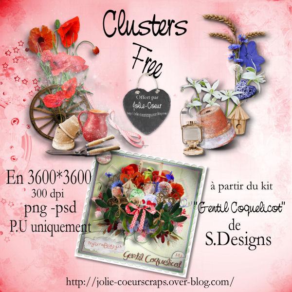 """QPs et cluster du kit """"gentil coquelicot"""" de S.Design Pv_clu11"""