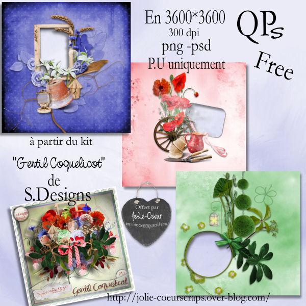 """QPs et cluster du kit """"gentil coquelicot"""" de S.Design Pv_qps10"""