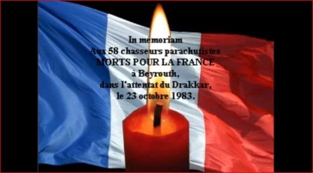 Le 30ème anniversaire de l'attentat du DRAKKAR 58 parachutistes des 1er et 9ème Régiment de Chasseurs Parachutistes écrasés sous les décombres de l'immeuble Drakkar à Beyrouth Captur10