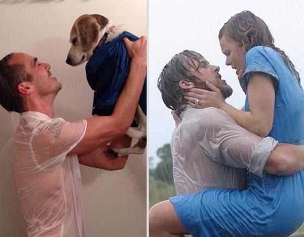 Bắt chước lại cảnh lãng mạn trong phim cùng... chú chó Bat-ch10