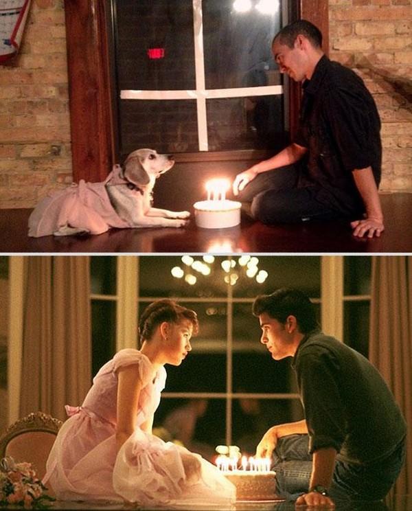 Bắt chước lại cảnh lãng mạn trong phim cùng... chú chó Bat-ch17