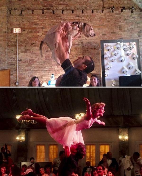 Bắt chước lại cảnh lãng mạn trong phim cùng... chú chó Bat-ch18