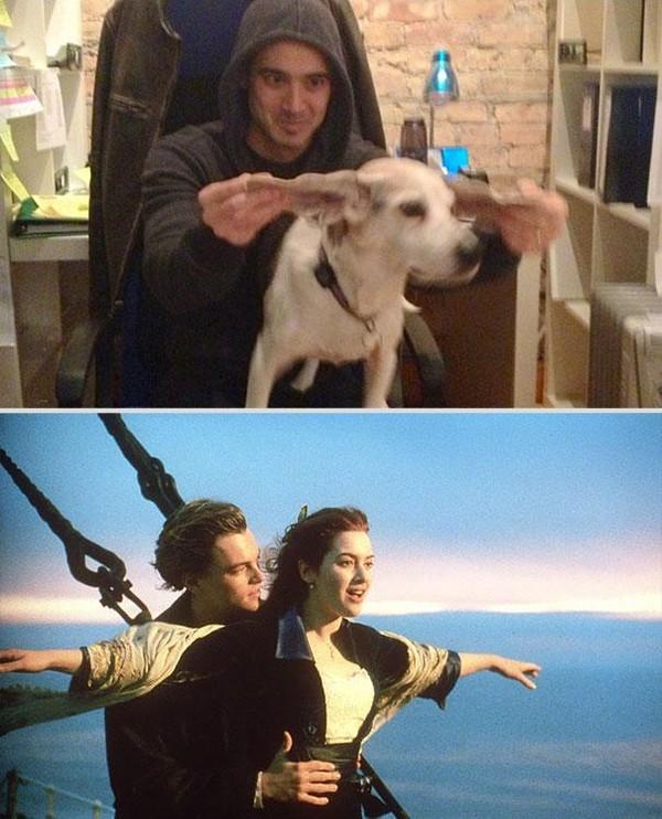Bắt chước lại cảnh lãng mạn trong phim cùng... chú chó Bat-ch19