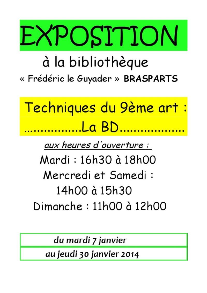 Exposition à la bibliothèque sur les techniques de la B.D. Affich13