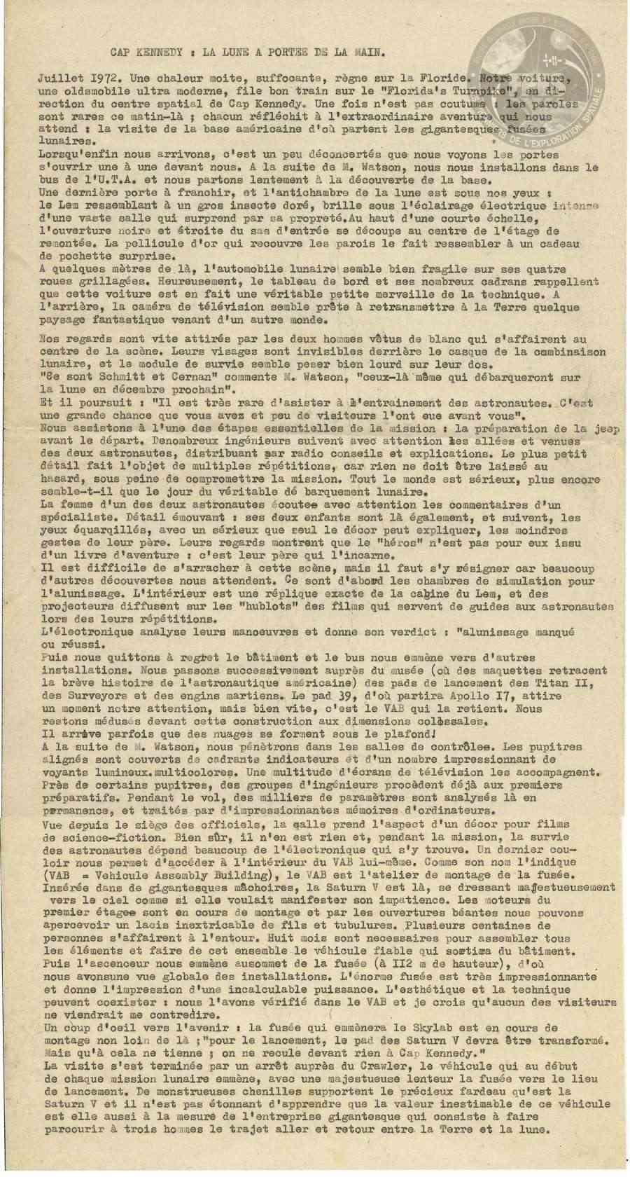 Juillet 1972. Grande époque Apollo, Cap Kennedy et souvenir d'une visite gravée Capken10
