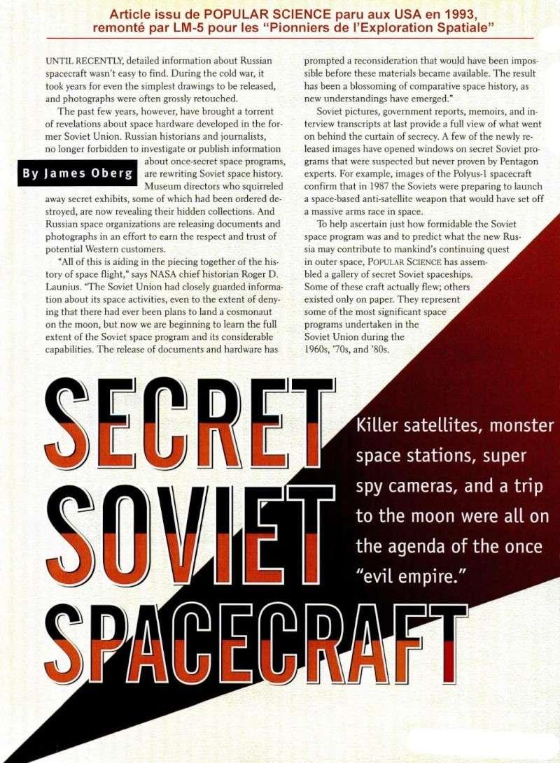 Années 1960/1980 : l'espace soviétique et ses velléités militaires restées longtemps secrètes Seso112