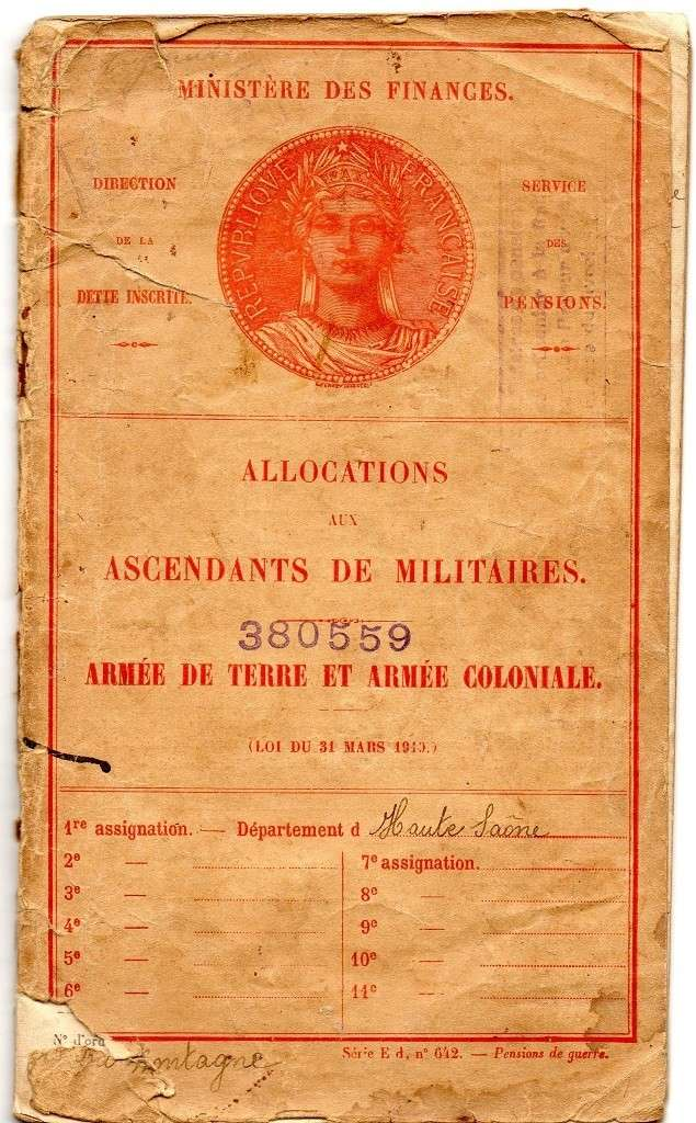 Livret d'allocations aux ascendants de militaire Menil117